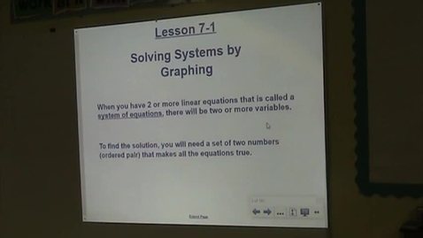 Thumbnail for entry Alg Lesson 7-1 Solving Systems by Graphing