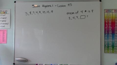 Thumbnail for entry Saxon Algebra 1 - Lesson  45 - Range, Median, Mode, and Mean
