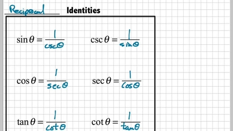 Thumbnail for entry Introduction to Trig Identities