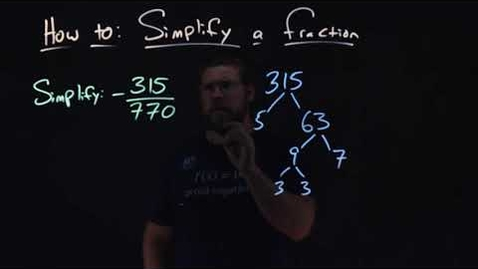 Thumbnail for entry How to Simplify a Fraction | -315/770 | Minute Math