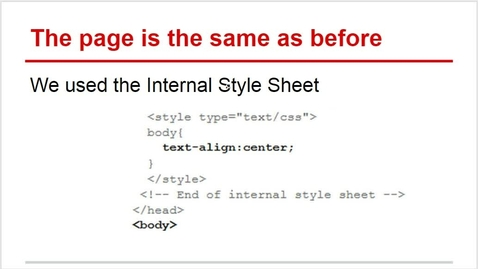 Thumbnail for entry Divisions and Internal Style Sheet in CSS and HTML