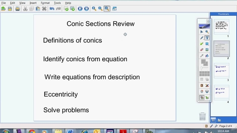 Thumbnail for entry Conic Sections Review