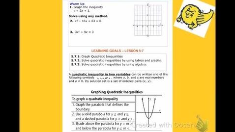 "Thumbnail for entry Alg2B Lesson 5:7 ""Solving Quadratic Inequalities - Part 1"""