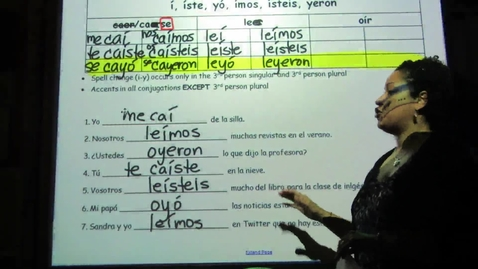 Thumbnail for entry Spanish - Double Vowel Preterit Tense 2 (answers)