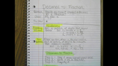 Thumbnail for entry Convert Decimal to Fraction