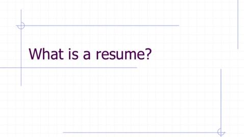 Thumbnail for entry Senior Project Resume Training