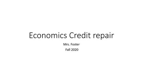 Thumbnail for entry Economics credit repair