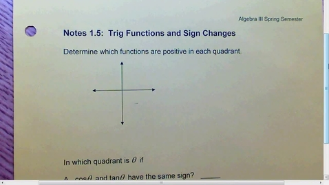 Thumbnail for entry 1.5 Trig Functions and Sign Changes
