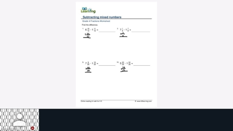 Thumbnail for entry Subtracting mixed number with like denominators with carryover