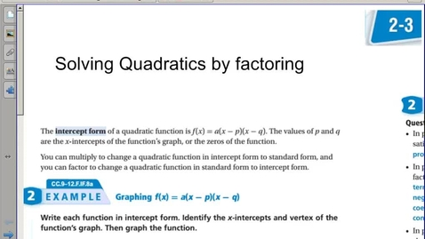 Thumbnail for entry 2-3 soving quadratics by factoring