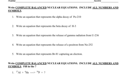 Thumbnail for entry Nuclear Equations WS #2