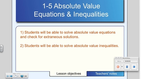 Thumbnail for entry 1-5 Solving Absolute Value Equations and Inequalities