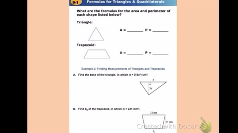 """Thumbnail for entry GeoB Lesson 9:1 """"Area & Perimeter of Triangles and Quadrilaterals"""" Part 2"""