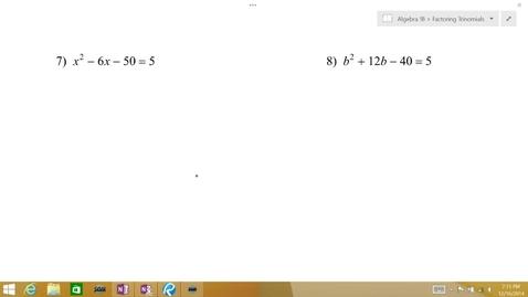 Thumbnail for entry Algebra 1B Lesson 10 #7-10