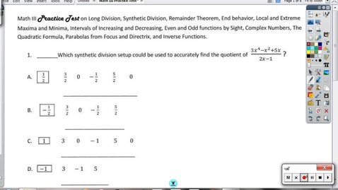 Thumbnail for entry Math III Practice Test on Functional Goings-on