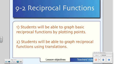Thumbnail for entry 9-2 Reciprocal Functions