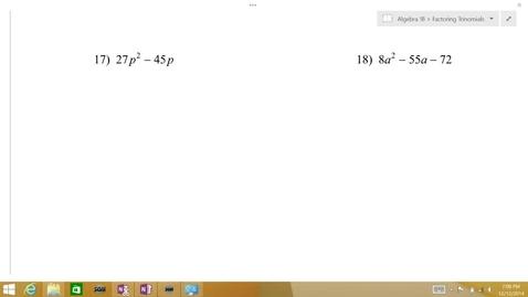 Thumbnail for entry Algebra 1B Lesson 08 #17-18