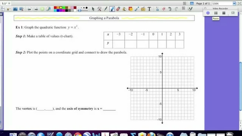Thumbnail for entry 5.1:  Graphing a quadratic