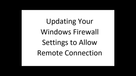 Thumbnail for entry Firewall Settings