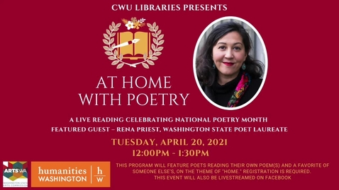 Thumbnail for entry At Home with Poetry: A live reading celebrating National Poetry Month At Home with Poetry: A live reading celebrating National Poetry Month Online