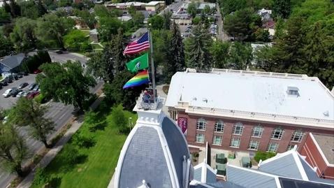 Thumbnail for entry Rainbow flag flies over Barge Hall