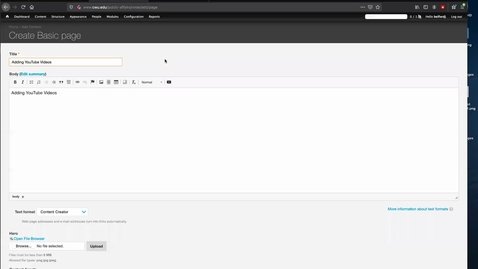 Thumbnail for entry Web Training: Embedding YouTube Videos (2016 Theme)