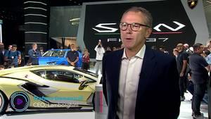 Lamborghini CEO at Frankfurt IAA on its New Hybrid Supercar