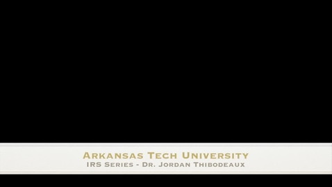 Thumbnail for entry IR Series - Dr Jordan Thibodeaux