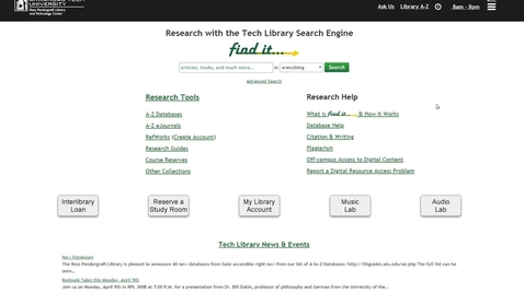 Thumbnail for entry Research Tools Overview