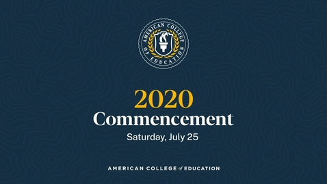 Thumbnail for entry Graduation Ceremony: Commencement 2020