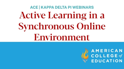 Thumbnail for entry Active Learning in a Synchronous Online Environment