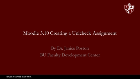 Thumbnail for entry Moodle 3.10 Creating a Unicheck  Assignment