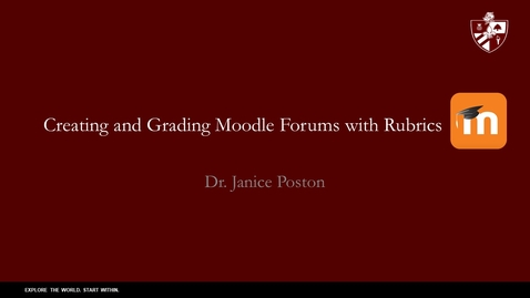 Thumbnail for entry Creating Moodle Forums and Grading Them with Rubrics