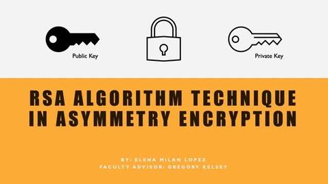 Thumbnail for entry Elena Milan Lopez - RSA Algorithm Technique in Asymmetry Encryption
