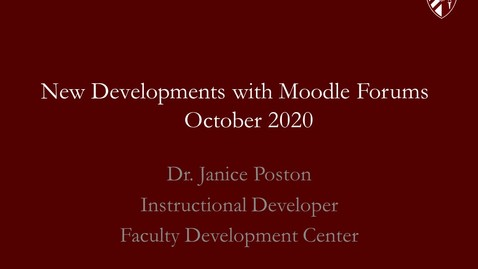 Thumbnail for entry New Developments with Moodle Forums--October 2020
