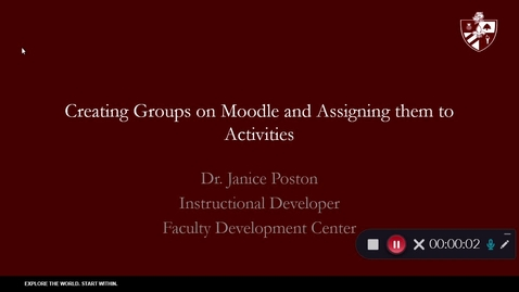 Thumbnail for entry Creating Groups On Moodle and  Assigning them to Activities