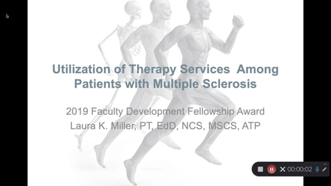 Thumbnail for entry Laura K. Miller, PT, Ed.D., NCS, MSCS, ATP - Therapy Usage Among Individuals with Multiple Sclerosis