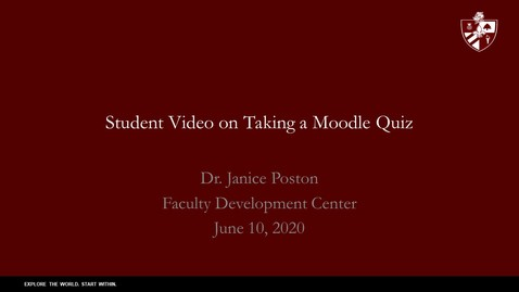 Thumbnail for entry Student Video on Taking a Moodle Quiz