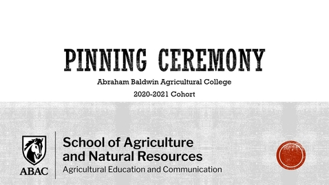 Thumbnail for entry 2021 Ag Edu Pinning Ceremony