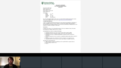 Thumbnail for entry Syllabus for Environmental Science - Spring 2021