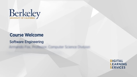 Thumbnail for entry Software Engineering Welcome