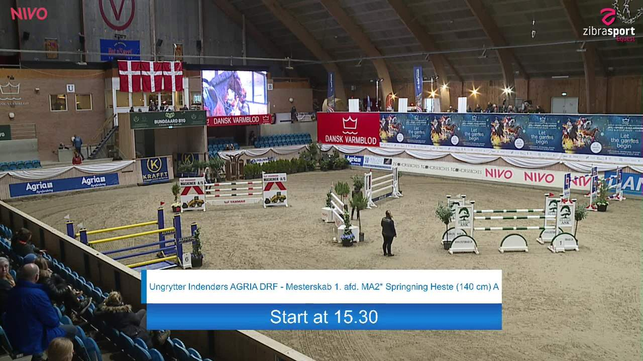 First part of Youngrider indoor AGRIA DRF-Championship S1 Jumping Horses (145 cm) A at the DRF jumping championship at Vilhelmsborg 2020