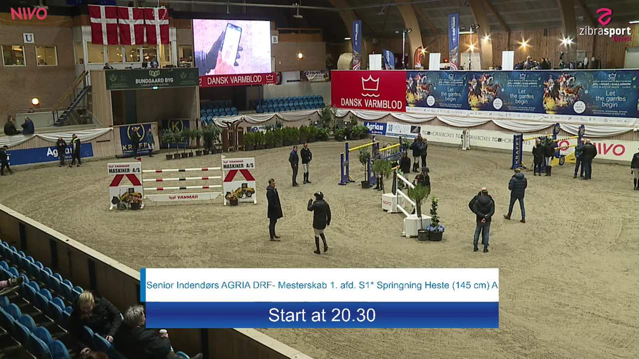 First part of Senior indoor AGRIA DRF-Championship S1 Jumping Horses (145 cm) A at the DRF jumping championship at Vilhelmsborg 2020