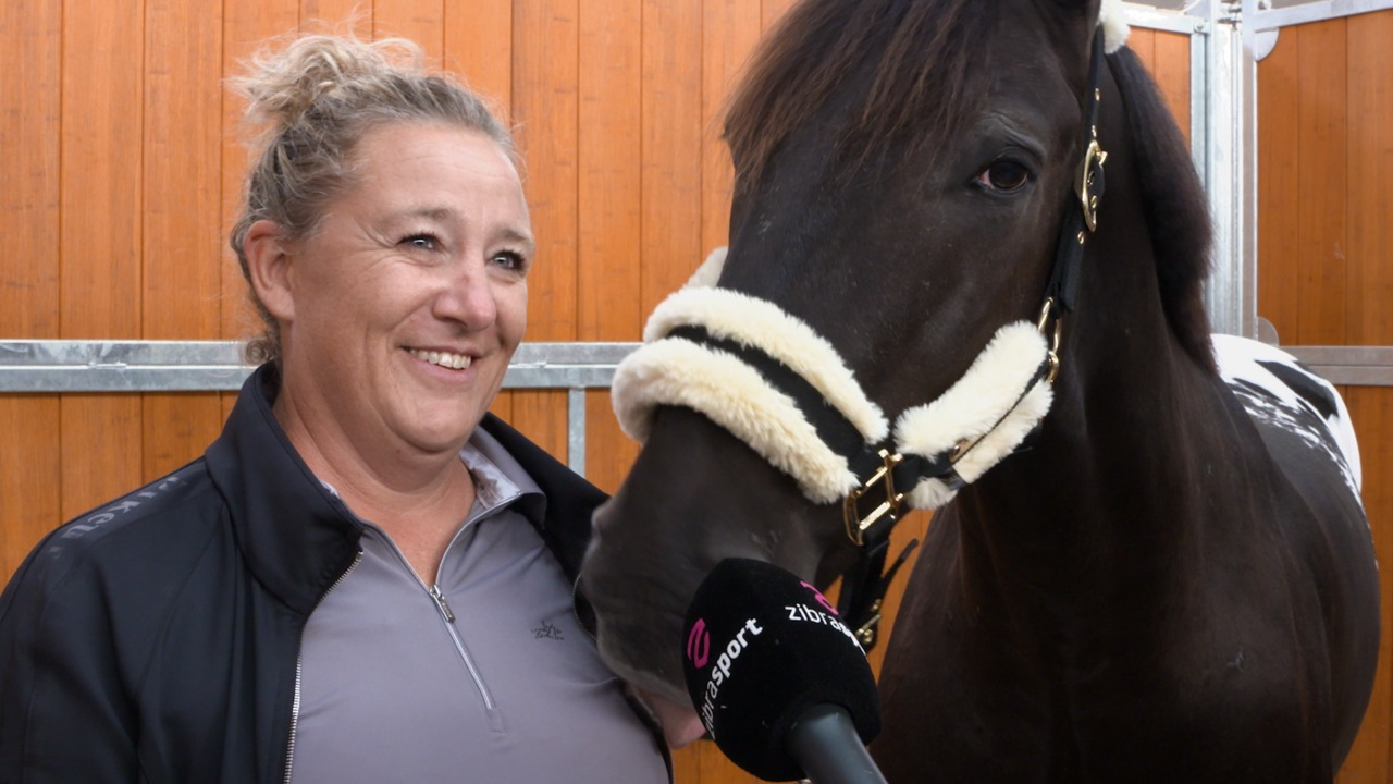 Jeanet is competing her Knabstrup horse in dressage