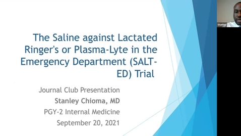 Thumbnail for entry 9/20 Journal Club with Dr. Stanley Chioma and Dr. Tumelo Moleko