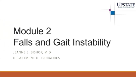Thumbnail for entry 10/30: Falls and Gait Instability By Dr. Bishop