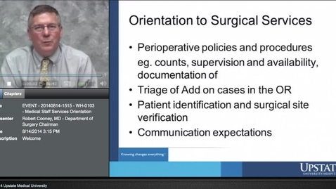 Thumbnail for entry Credentialed Provider Orientation - Orientation to Surgical Services