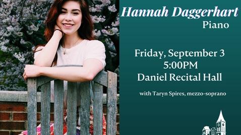 Thumbnail for entry Senior Recital: Hannah Daggerhart, piano
