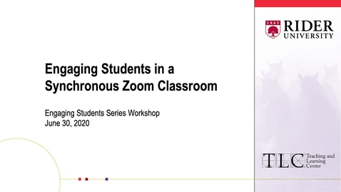 Thumbnail for entry Engaging Students in a Synchronous Zoom Classroom