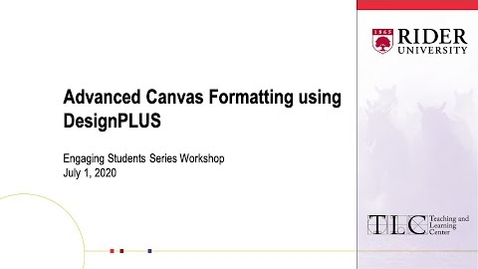 Thumbnail for entry Advanced Canvas Formatting using DesignPLUS